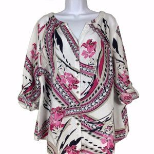 Linen Blend Floral Swirl Top Blouse JM Collection